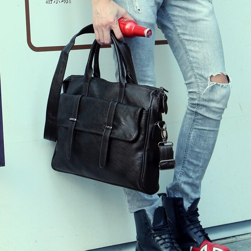 Work Bag Office Bags For Men File Briefcases Men's Bag 14 Inch Laptop Handbag Pu Leather Messenger Portfolio Business Manager