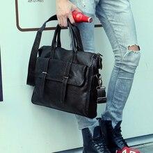 Купить с кэшбэком Designer handbags Men's 14 inch laptop bag pu leather messenger bags men travel school bags leisure bags 38.5*30*5.5cm