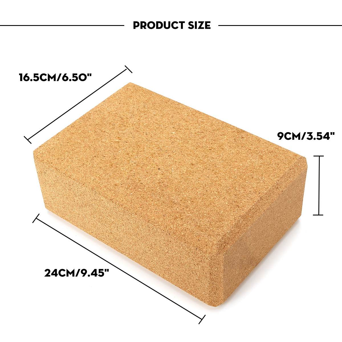 High Density Cork Yoga Block Pilates Brick Fitness for Exercise Workout Fitness Training Block Brick 16.5cm x 24cm x 9cm