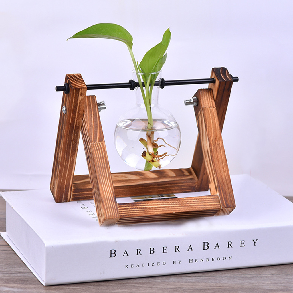 Classic Glass Vases + Vase Holder Hydroponic Plant Vases Planter Terrarium Table Decor Hanging Pots With Wooden Tray Home Decor