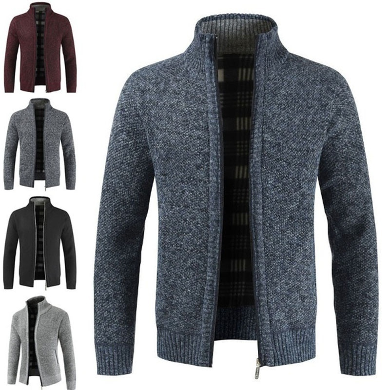 New Autumn And Winter Men's Thick Cardigan Sweater Slim Mens Turndown Collar Solid Color Knit Shirt Jacket