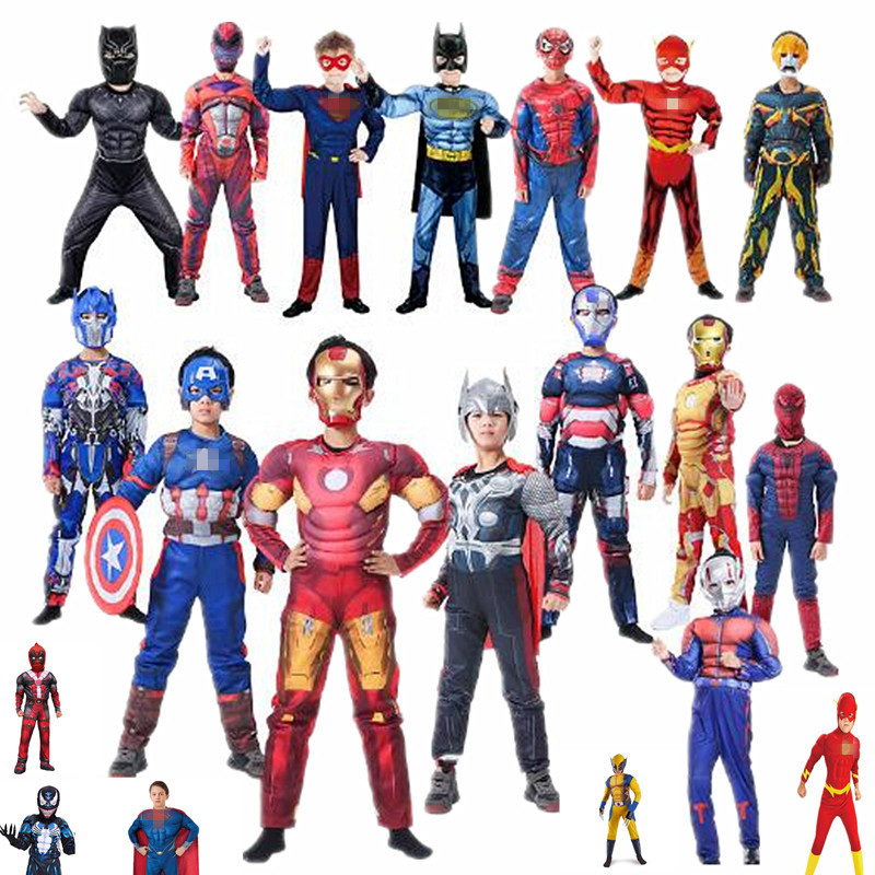 Halloween Child Muscle Superhero Costume, Superman Flash Panther Iron Man Heroine Cosplay Christmas Costume