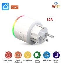 Enchufe inteligente Wifi de la UE enchufe inalámbrico de 16A para Rusia, Corea, España, Monitor de potencia, toma de corriente, Tuya APP, funciona con Google Home, Alexa y IFTTT