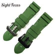 Remplacement de bracelet de montre déclairage vert darmée de 24mm 26mm pour la ceinture militaire de Bracelets de bracelet en caoutchouc de Sport de Radiomir Submersible de Panerai