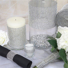 Rouleau de maille strass cristal or argent 24 rangées, 1 rouleau de ruban pour anniversaire mariage, décoration de bricolage, emballage de gâteau, Tulle cristal