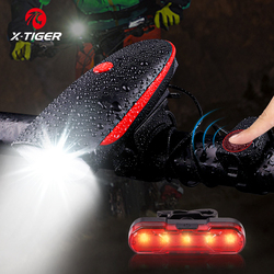 X-TIGER Bike Light Bike Horn Light Bicycle Bell USB Charging Bicycle Light Cycling Multifunction Ultra Bright 130dB Horn Bell