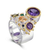 New Arrive Colorful Feminine Zircon Ring for Women Big Purple Stone Gothic Wedding Engagement Jewelry
