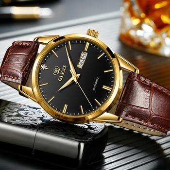 OLEVS Automatic Men's Watch Fashion Simple Deep Waterproof Leather Strap Men's Mechanical Watch 2