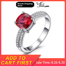 JewelryPalace Cushion 2.6ct สร้าง Red Ruby Solitaire หมั้นแหวน 925 (China)