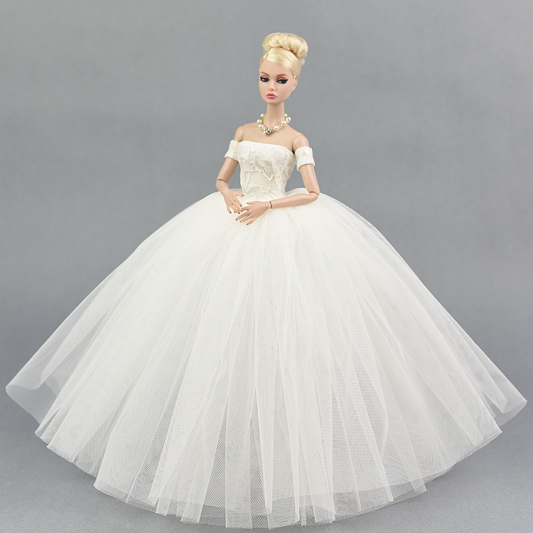 Wedding Dress For Barbie Doll Original 1/6 BJD Party Evening Gown Bubble Skirt Clothing Outfit Accessories Vestiti White Black