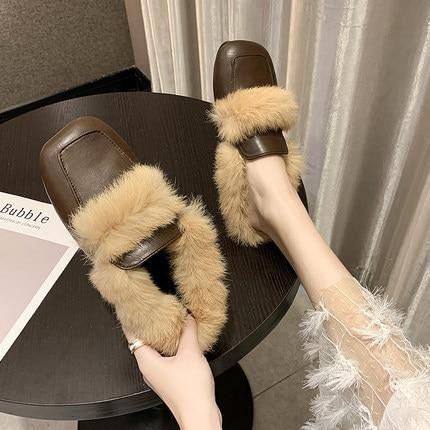 2019 autumn new Korean literary retro style fashion simple square head rabbit hair comfortable half slippers 23