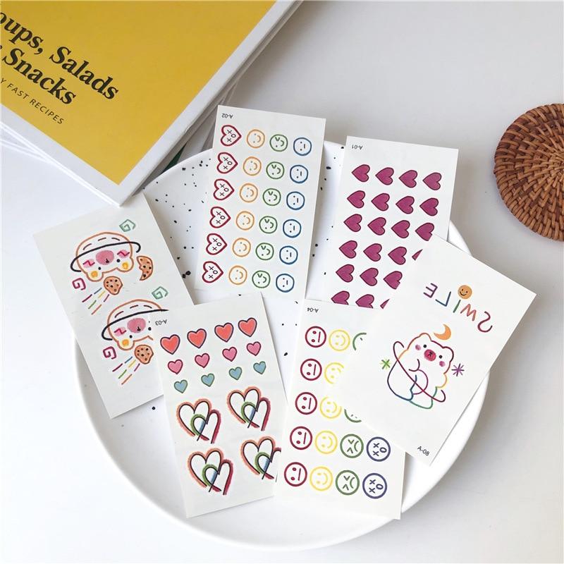 Tattoo Stickers 30 Sheets/ lot Kawaii Sticker Korean Style Ins Flowers Rainbow Tattoo Stickers Cartoon Decoration Stickers 2