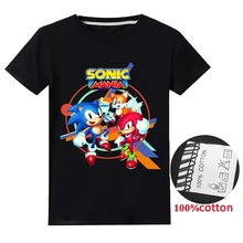 Cotton sonic the hedgehog cartoon anime short sleeve round neck T-shirt sports casual fashion summer boys and girls T-shirt tops dc comics justice league the flash graphics printed summer round neck short sleeve t shirt blended sweat absorbing fitness shirt