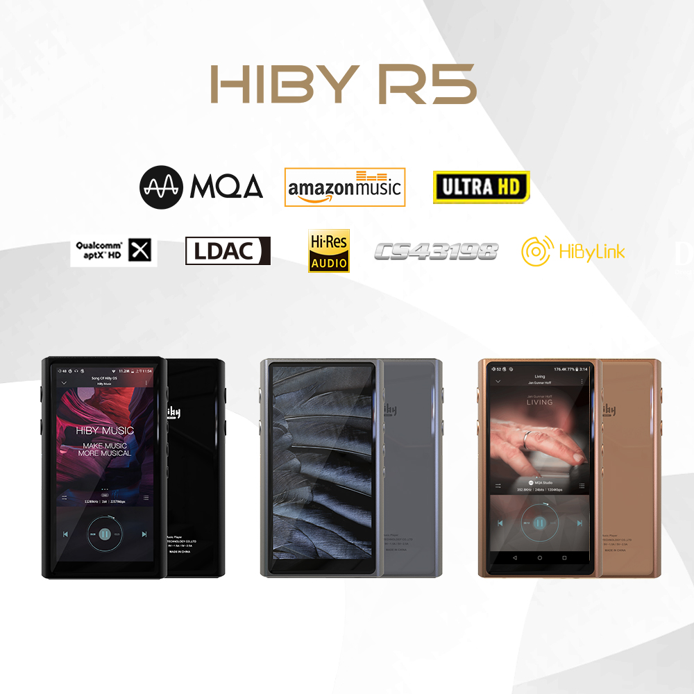 HiBy R5 Android 8.1 HIFI Lossless Music MP3 Player Amazon Music Ultra HD/WiFi/Air Play/LDAC/DSD/aptX/Dual CS43198/Hi-Res/MQA