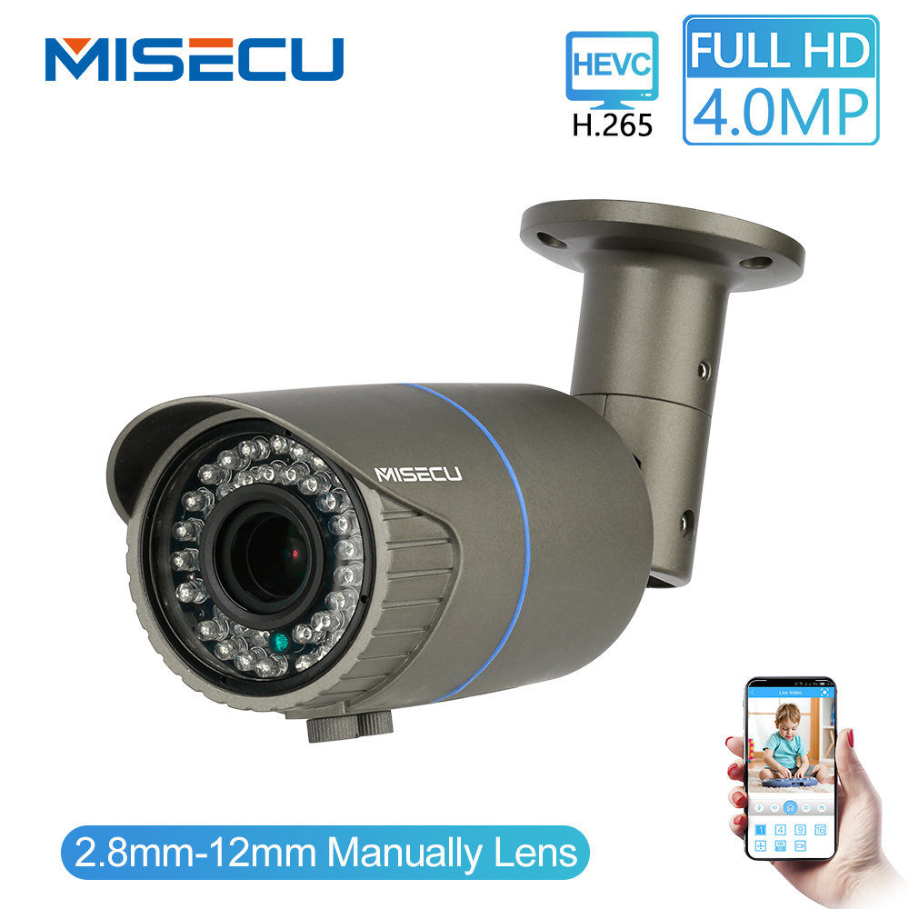 MISECU Full HD 4.0MP 2.0MP 1080P 2.8-12mm Manual Zoom Camera IP Power Over Ethernet Outdoor Night Vision ONVIF IR Waterproof P2P