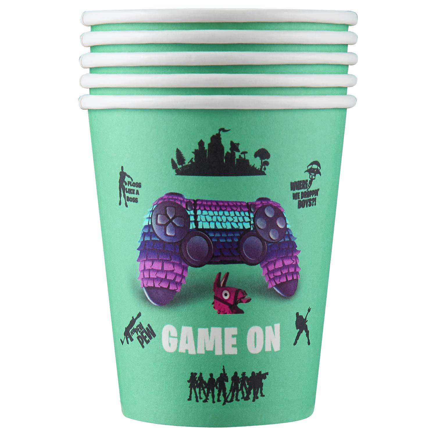 Game theme birthday party set game paper cup paper tray tablecloth flag game console handle