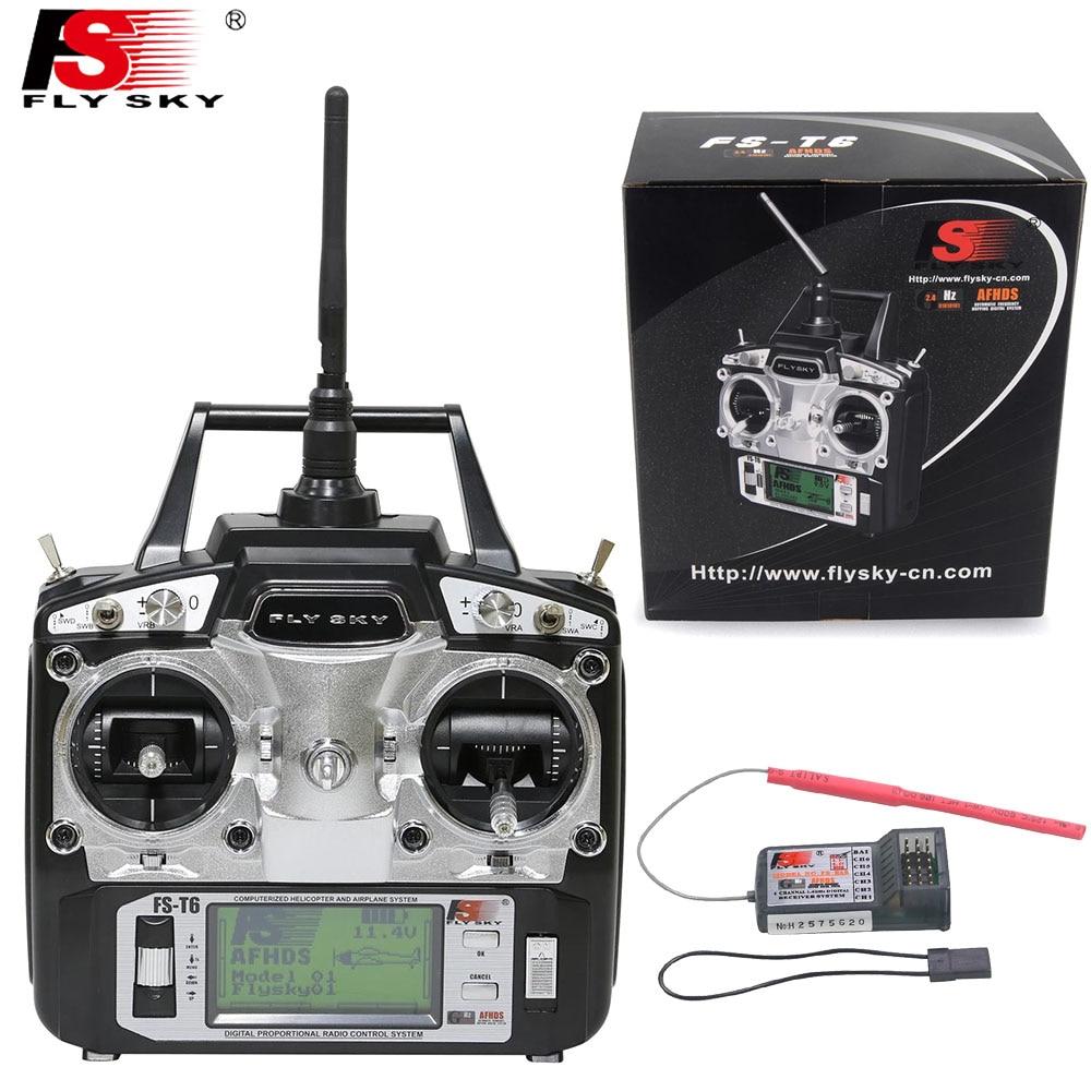 1 قطعة FlySky FS T6 6ch 2.4g شاشة LCD الارسال مع FS R6B استقبال ل RC هليكوبتر-في قطع غيار وملحقات من الألعاب والهوايات على  مجموعة 1