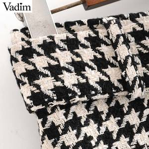 Image 3 - Vadim women elegant tweed houndstooth plaid midi skirt bow tie belt button decorate office wear chic mid calf skirts BA844