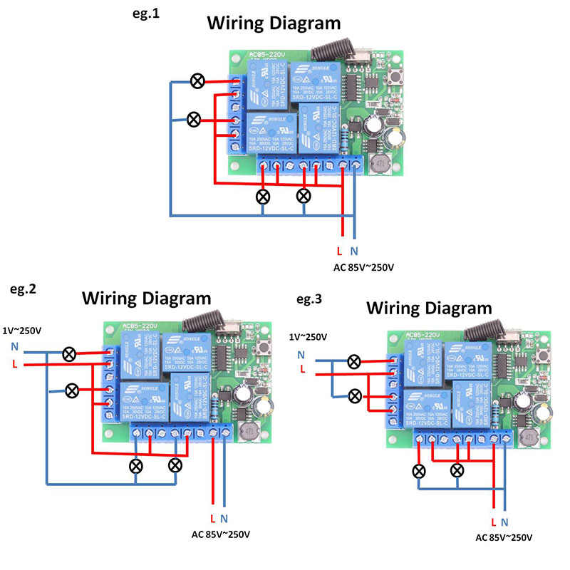 AC 85V ~ 220V 10Amp 2200W 4CH 433MHz Rfรีโมทคอนโทรลไร้สายรีเลย์ตัวรับสัญญาณControllerสำหรับโรงรถ \ ประตู \ LEDหลอดไฟ