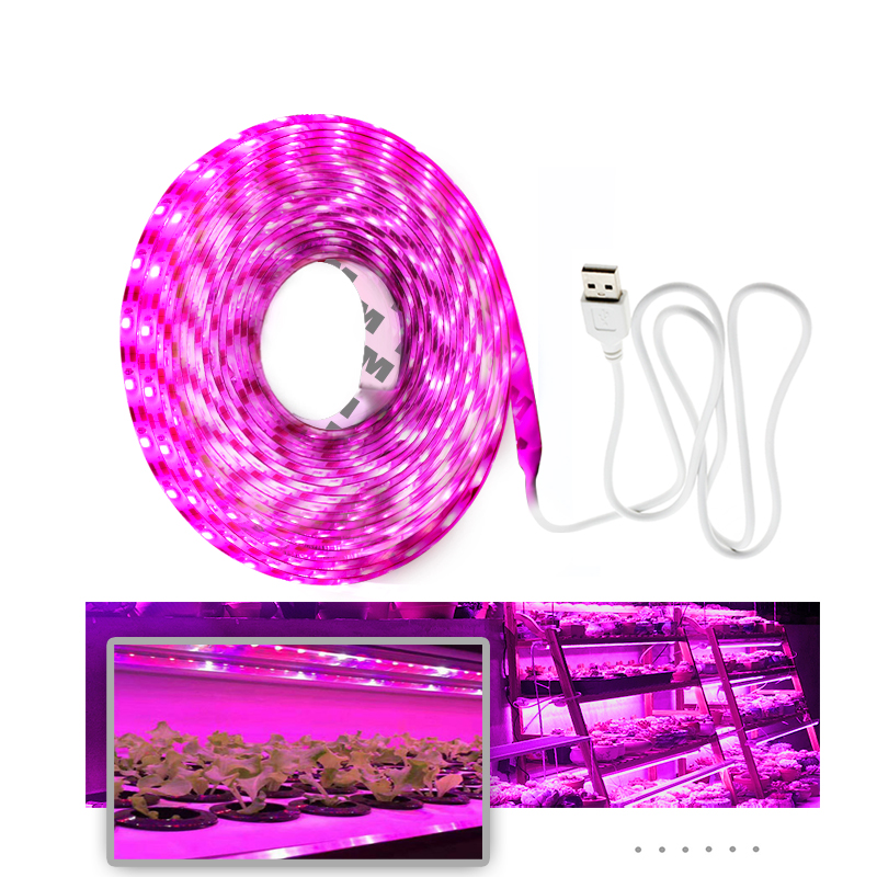 Full Spectrum LED Grow Lights USB LED Strip Lights 370-780nm 2835 Chip LED Grow Lamps 0.5m 1m 2m 3m  For Indoor Plants Growing