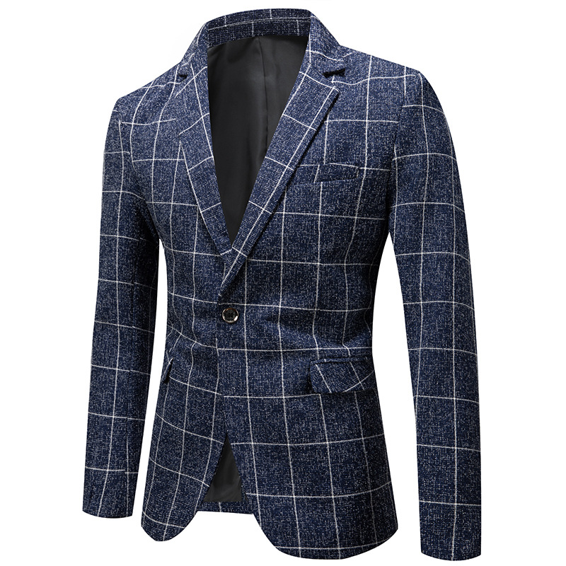 New Arrivals Mens Blazer Spring Autumn Men's Fashion Plaid Suit Coat Business Casual Slim Fit Suit Jacket Male Clothes Outerwear