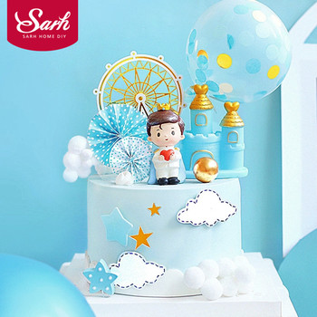 Castle Star Crown Prince Baby Boy's Happy Birthday Cake Topper Kid Party Supplies Pink Love Gifts prince castle 65 058s relay
