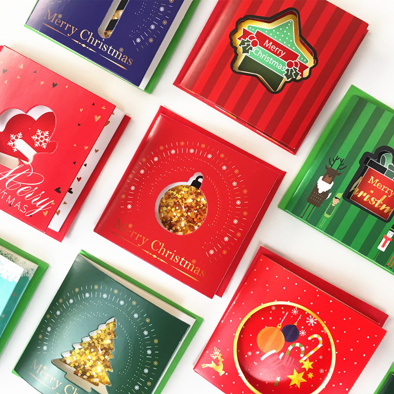 10 Pcs/set Merry Christmas Small Greeting Cards Mini Christmas Greeting Cards New Year Postcard Christmas Gift Greeting Card