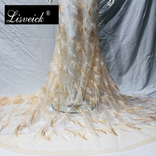 1yard new elegant tassel feather leaf embroidery mesh lace fabric diy wedding dress clothing skirt