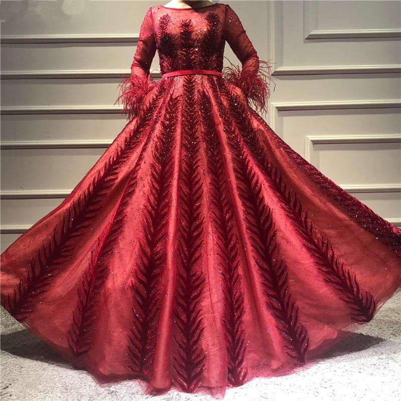 Mode Sehen Durch Ausschnitt Mit Langen Ärmeln Spitze Pailletten Perlen Abendkleid Lange Abendkleid Nach Maß