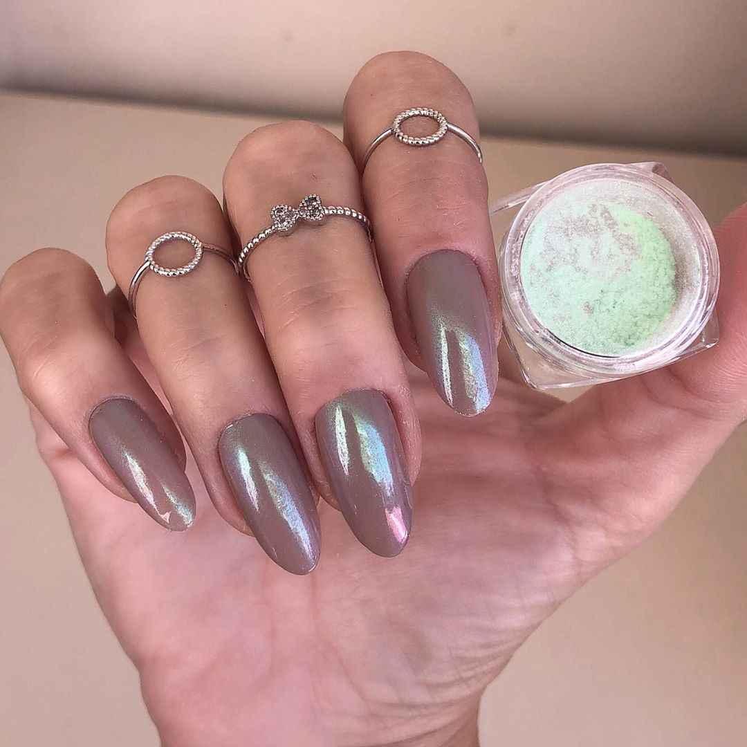 0.3G/Kotak Kuku Bubuk Berkilau Warna-warni Hijau Ungu Cermin Kuku Glitter Chrome Pigmen Debu Dekorasi Tips Nail Art dengan Kotak