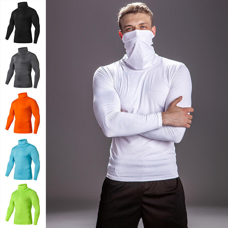 Solid Color High Collar Compression Shirts Men's Bodybuilding Running T-Shirts Gyms Fitness Tops Tight Rashgard Tee