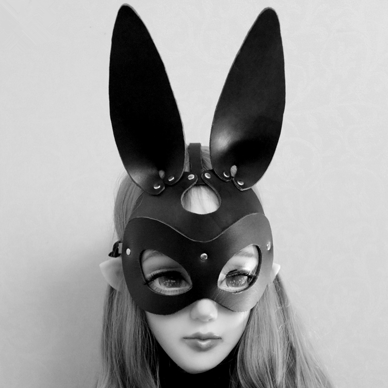 Sexy Leather Cat Bunny Mask Catwoman Fetish Cosplay Face Mask Halloween Carnival Party Mask Women BDSM Bondage Accessories
