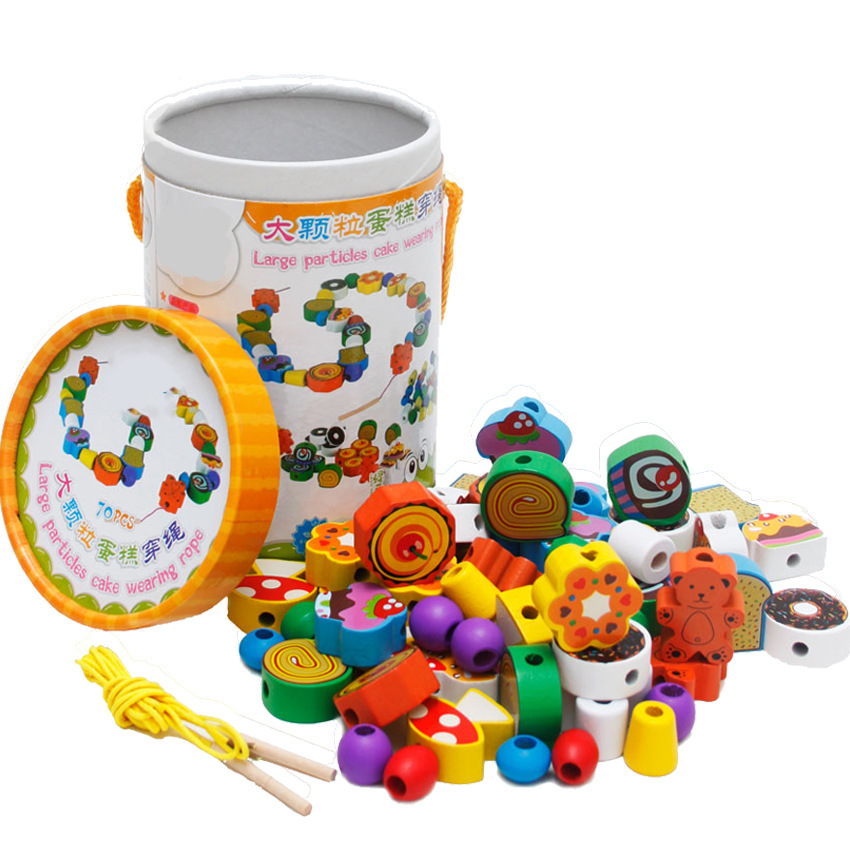 CHILDREN'S Toy Early Education Bead Educational Wooden Baby Beaded Bracelet Unisex Bead-stringing Toy Building Blocks Men's Non-