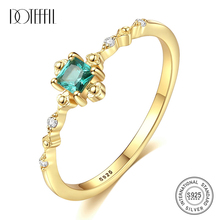 DOTEFFIL New Fashion Delicate Square Emerald Bridal Wedding Ring Genuine 925 Silver Sterling Female Gemstone Ring Silver Jewelry