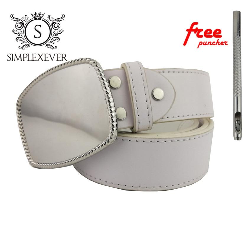 Belts With Solid Silver Belt Buckle DIY Men's Belt Buckles Suit For 3.8-4cm Width Belt Jeans Accessories
