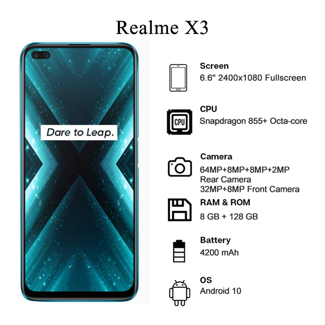 Realme X3  NFC Cellphone 8GB RAM 128GB ROM  6.6 '' Snapdragon 855+ 64MP Quad Rear 60X Super Zoom Camera 4200mAh Mobile Phone 2
