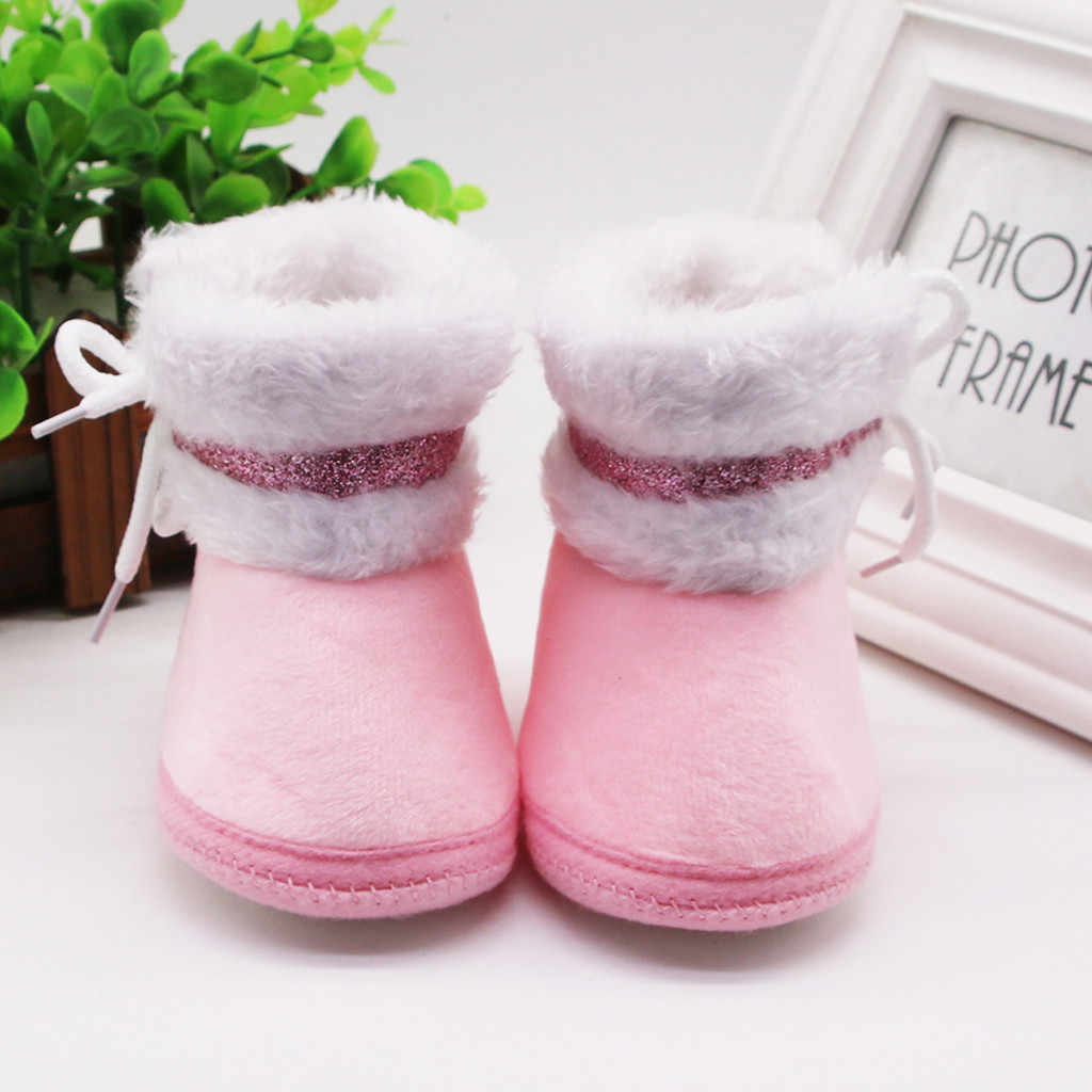 Baby Boots Infant Newborn Baby Girls Cute Winter Baby Boots Shoes Cashmere Plush Winter Boots Bandage Warm Shoes Botas de bebe