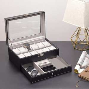 Storage-Box Watch Organizer Case-Jewelry Packaging Display-Collection 12-Slot Double-Layer