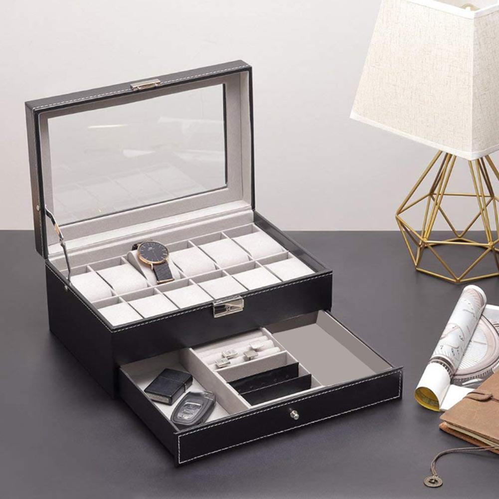 Double couche 12 fentes montre organisateur bijoux boîte de rangement affichage étui de collection