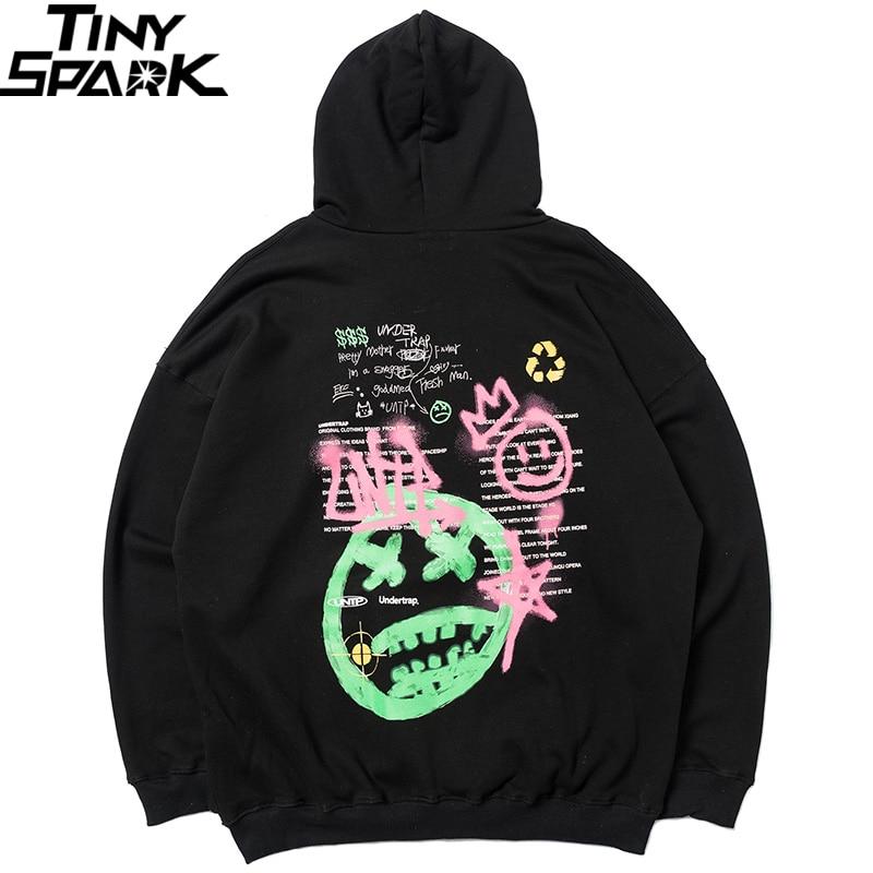 2020 Streewear Graffiti Hoodie Mens Hip Hop Sweatshirt Hoodie Cotton Harajuku Hooded Pullover Fleece Black HipHop Hoodie Loose