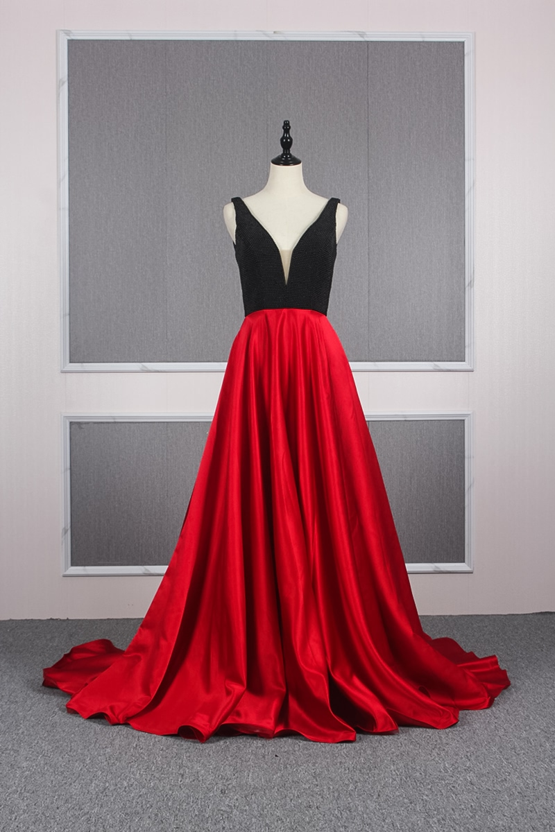 Abiti Da Sera Over 50.Yy150 Churlya Wurfel Red And Black Formal Dresses Satin V Neck