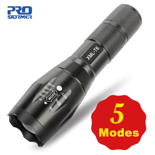 Led Flashlight 5 Models Ultra Bright Linterna Torch Q5/T6/L2 Waterproof Camping Bicycle Light 18650 Battery by PROSTORMER 1