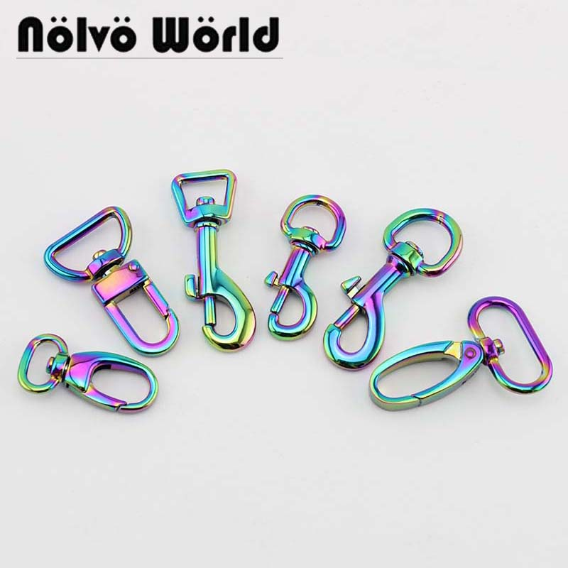 10-50pcs, 7 Hot Selling Styles Iridescent Rainbow Trigger Snap Hook,swivel Hooks Hardware Hook For Sewing