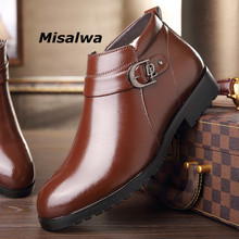 Misalwa Men Shoes Leather Boots Top Quality Bussiness Dress Mens Winter Footwear Ankle Snow Zipper Dropshipping