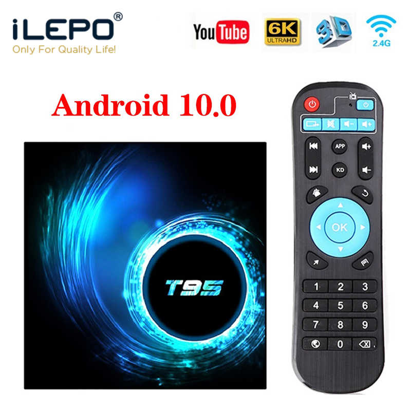 ILEPO T95 TV, pudełko z systemem Android 10.0 HD 6K Android TV, pudełko Media player Google asystent głosowy Smart TV Box TV, pudełko Set-top Box