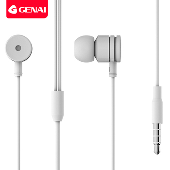 GENAI In-Ear Wired Earphones with Mic 3.5mm Earbuds For Music Sport Gaming Heavy Bass Stereo Sound Headset For Mobile Phones music gaming headset surround sound with mic earphones usb 7 1