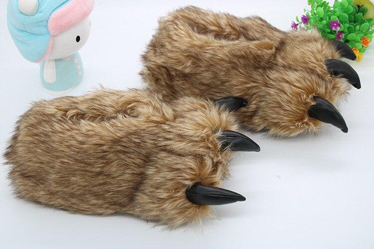 Hf7dce886ed534690bbc3250aedbb1f81A Pantufa Garra de Urso de Algodão Chinelos Quentes Interior de Inverno das mulheres das Mulheres De Pele Escorregas Senhoras Bonito Animal De Pelúcia Sapatos Femininos De Pele flip Flops