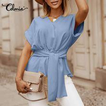 Women Peplum Top 2021 Celmia Summer Bandage Short Sleeve Blouse Sexy V-Neck Casual Solid Loose Ruffled Blusas Feminina Plus Size