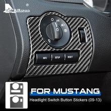 AIRSPEED Cho Ford Mustang 2009 2010 2011 2012 2013 Phụ Kiện Nội Thất Viền Sợi Carbon Đèn Pha Ô Tô Nút Công Tắc Miếng Dán