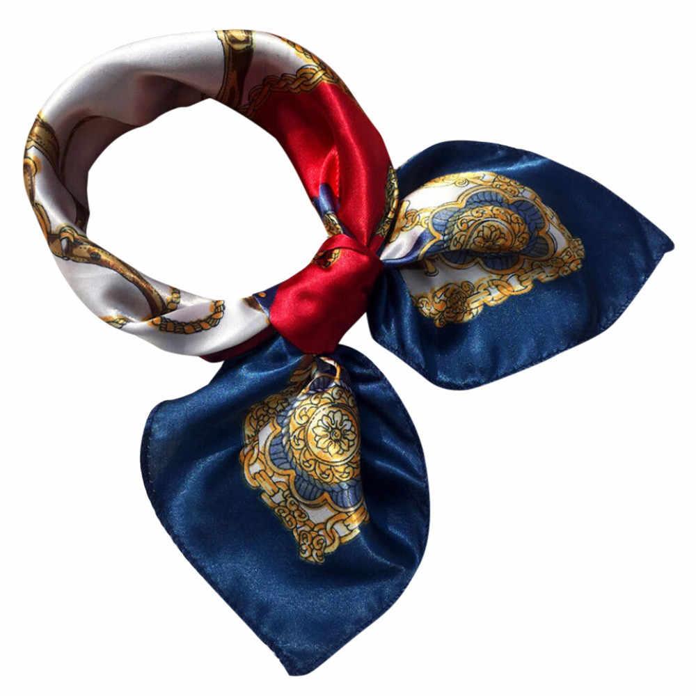 Pañuelo cuadrado para cabeza para mujer elegante pequeño bandana para fiesta banda para el cabello moda Pañuelo cuadrado para cabeza bufandas para mujer pañuelo estampado bufanda para el cuello